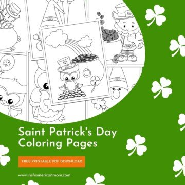 Coloring sheets on a graphic with text and shamrocks