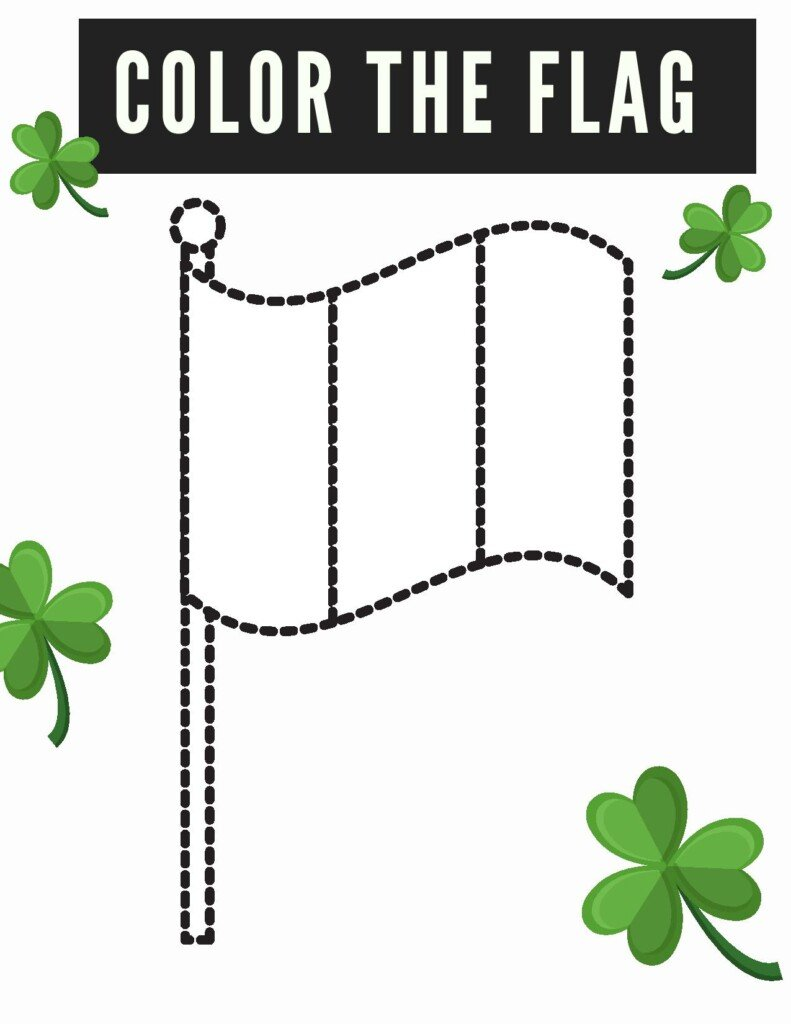 Irish flag sketch with a text banner and shamrocks