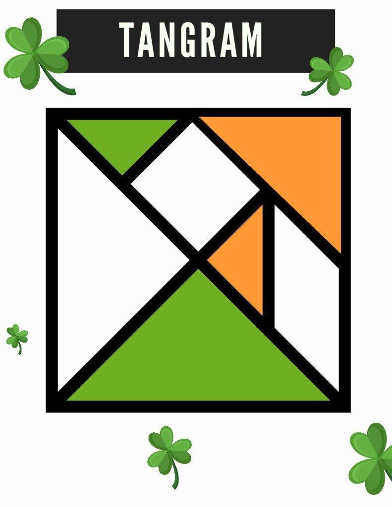 Irish themed tangram with shamrocks and a text box