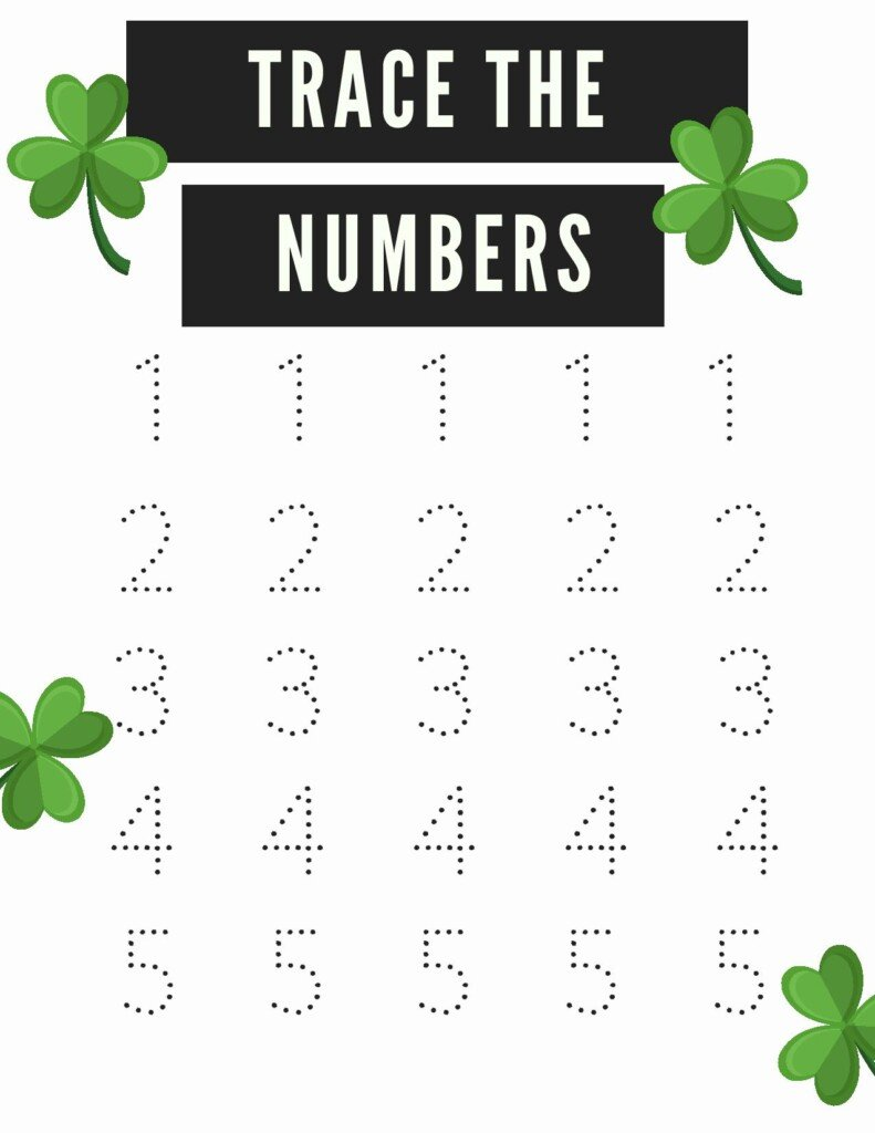 Trace the numbers worksheet with shamrock decorations