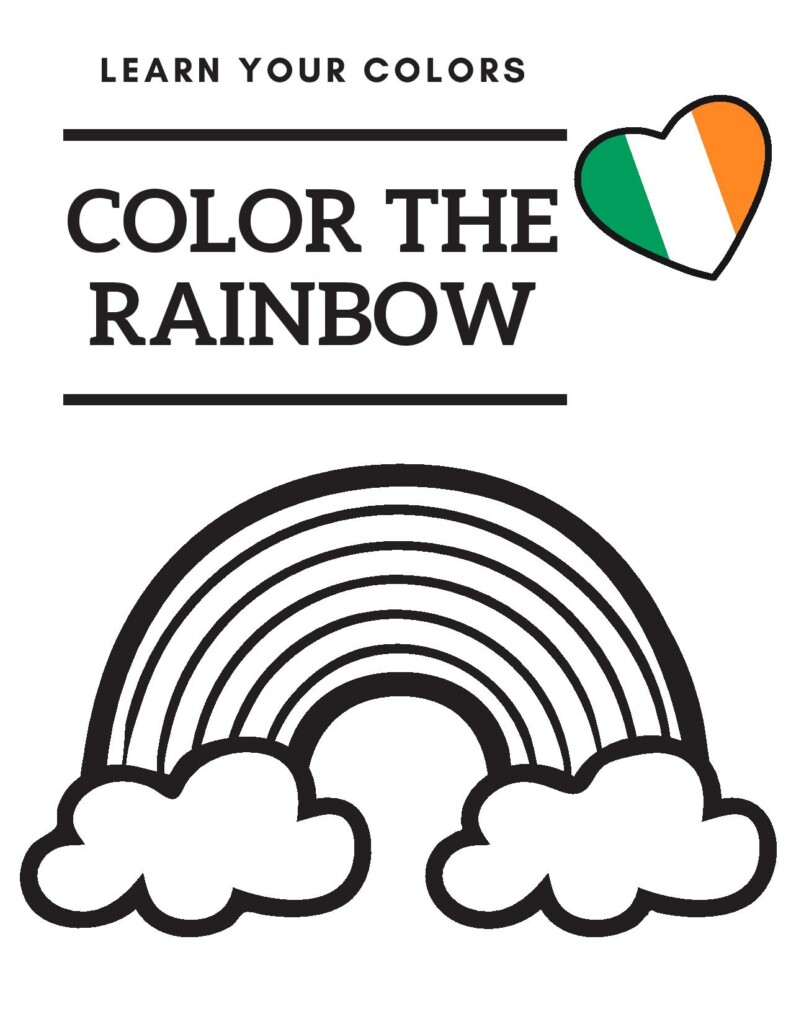 Rainbow sketch on an activity sheet with a text box and Irish heart