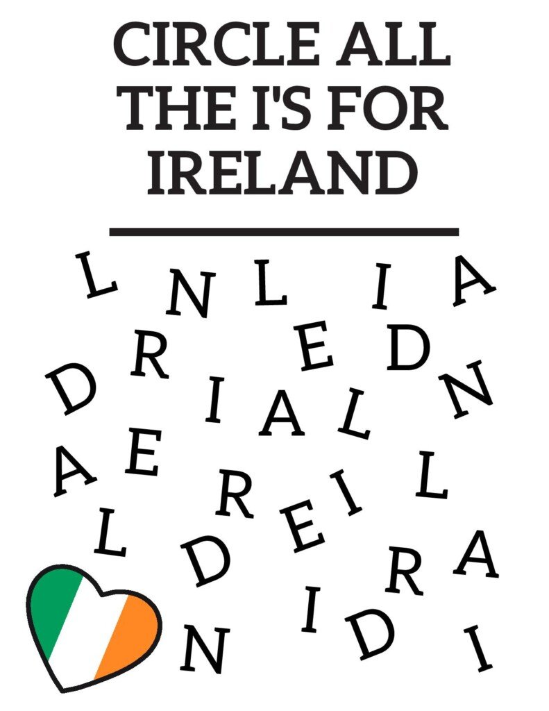 Letters on a worksheet beneath text and a heart symbol with green, white and orange stripes