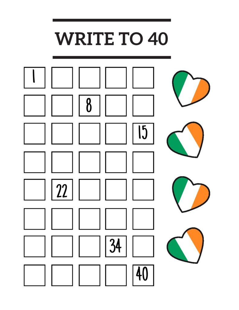 Grid of boxes with numbers beneath a text banner and beside four Irish hearts
