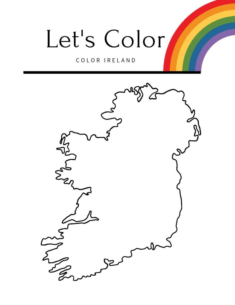 Map of Ireland sketch with a text banner and rainbow motif
