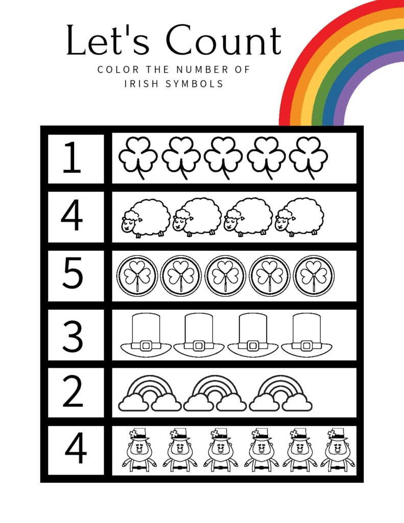 Counting worksheet with numbers and symbols of Ireland