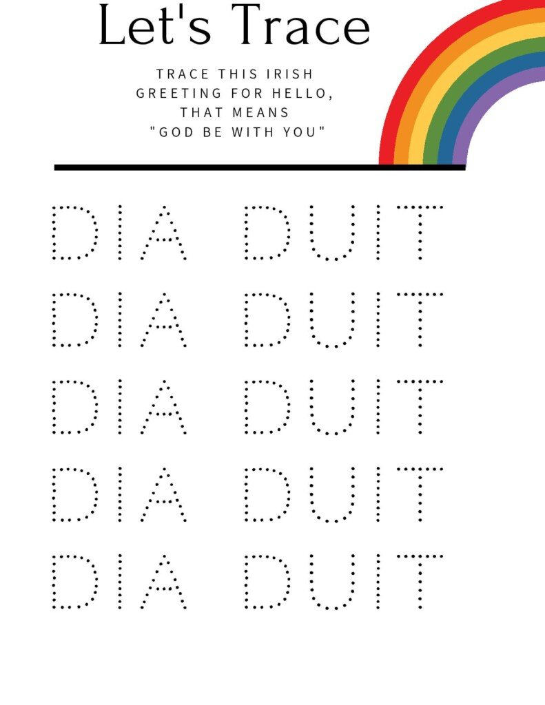 Let's trace Irish words work sheet with text banner and rainbow