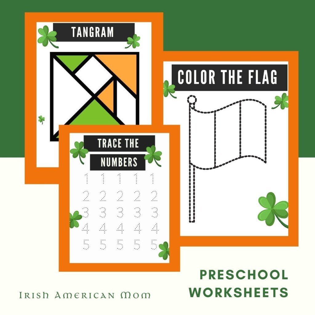 Learning worksheets with shamrocks on a graphic with highlight boxes and text