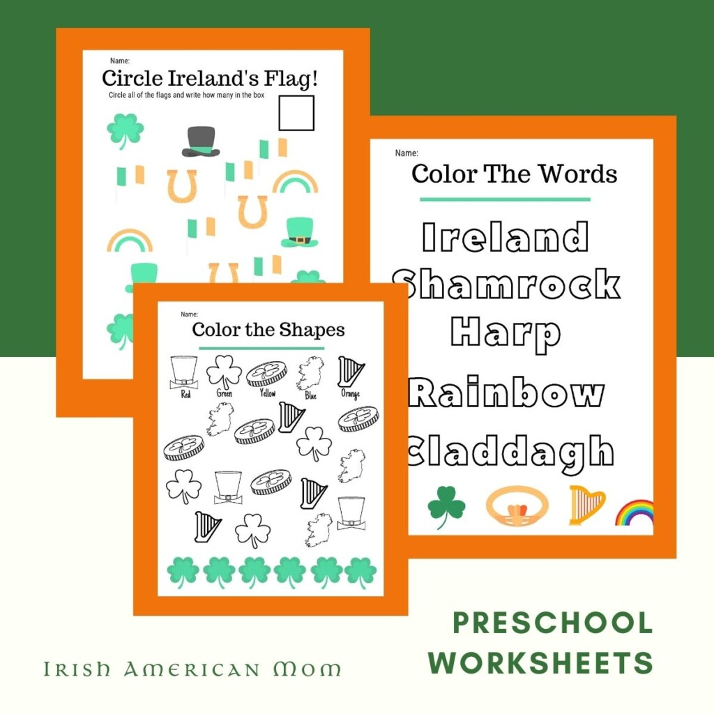 Worksheets on a graphic with text featuring symbols of Ireland