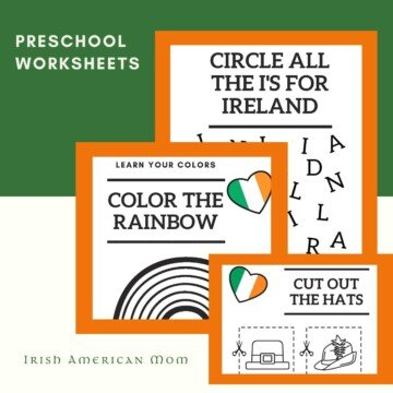 Irish themed worksheets for young learners on a graphic with display boxes and text