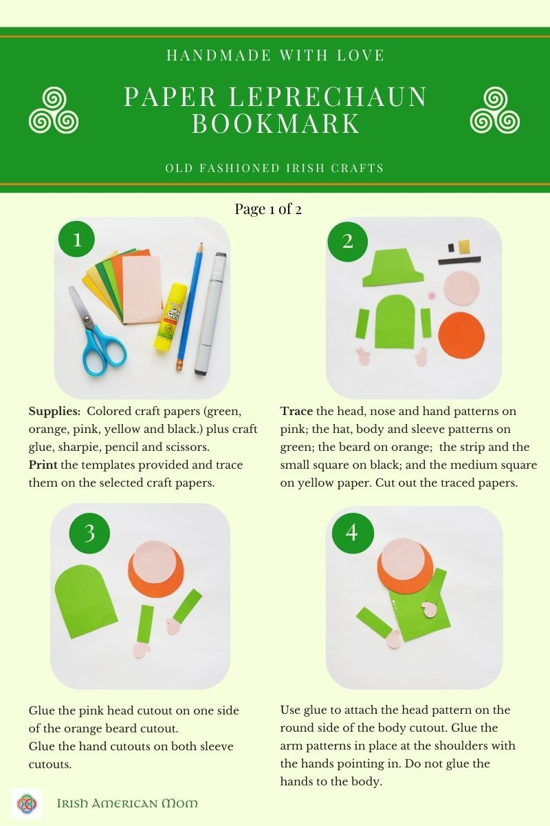 Tutorial sheet with images and text for a leprechaun craft