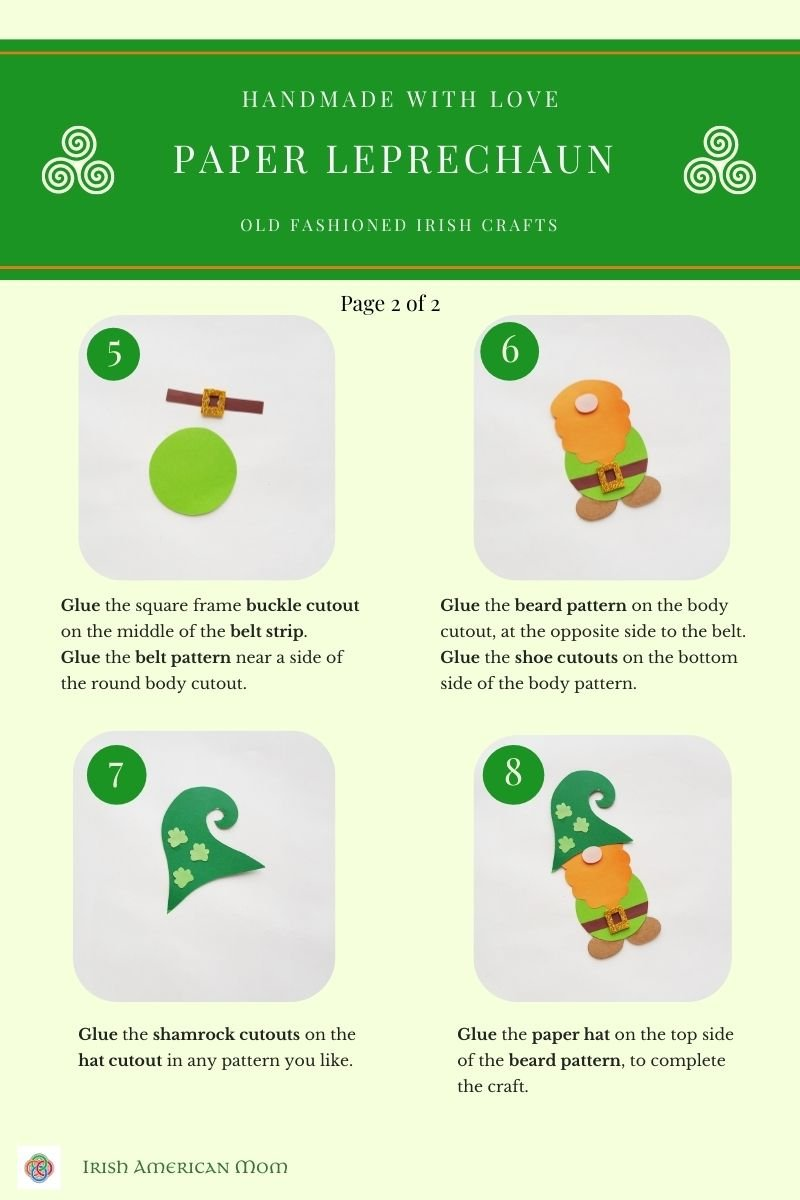Paper leprechaun craft tutorial sheet with images and text