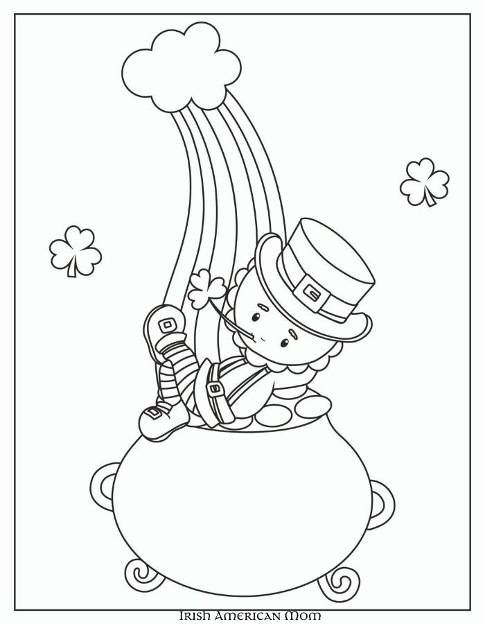 Sketch of a leprechaun on a pot of gold at the end of the rainbow