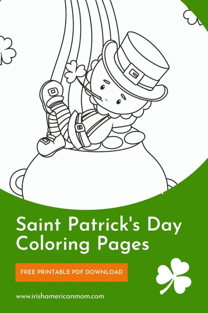 Graphic featuring a leprechaun on a pot of gold with text banners and shamrocks