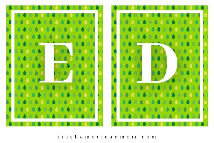Letters E and D on green boxes