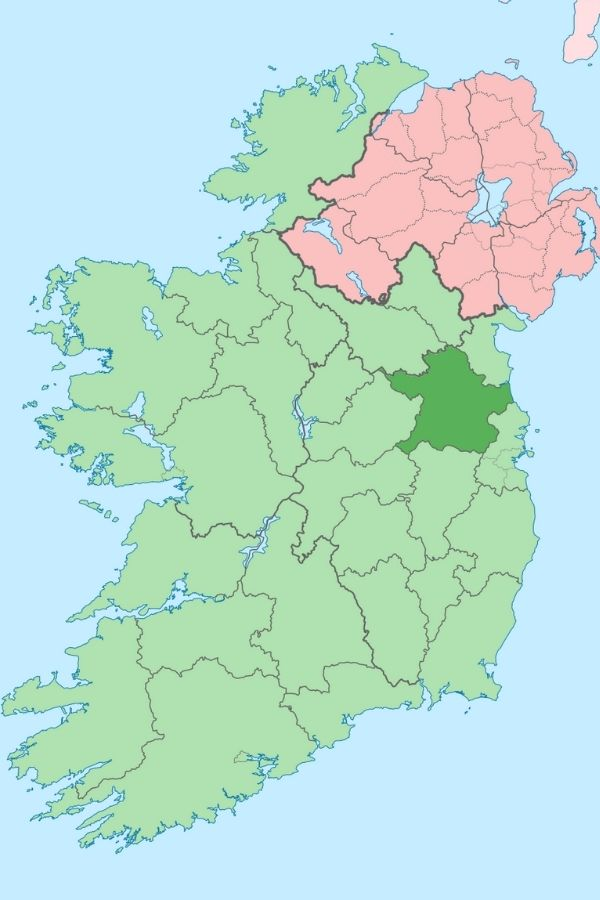 Map of Ireland with County Meath in dark green