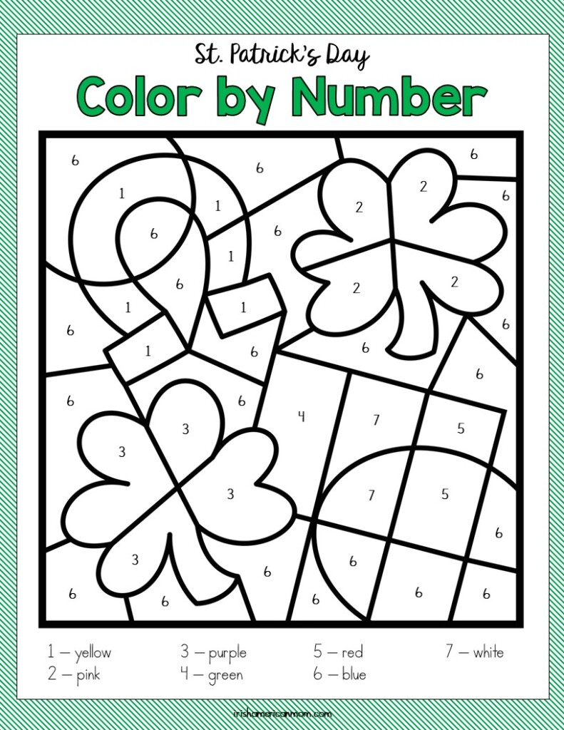 Horseshoe, shamrocks flag on a color by number activity sheet with text