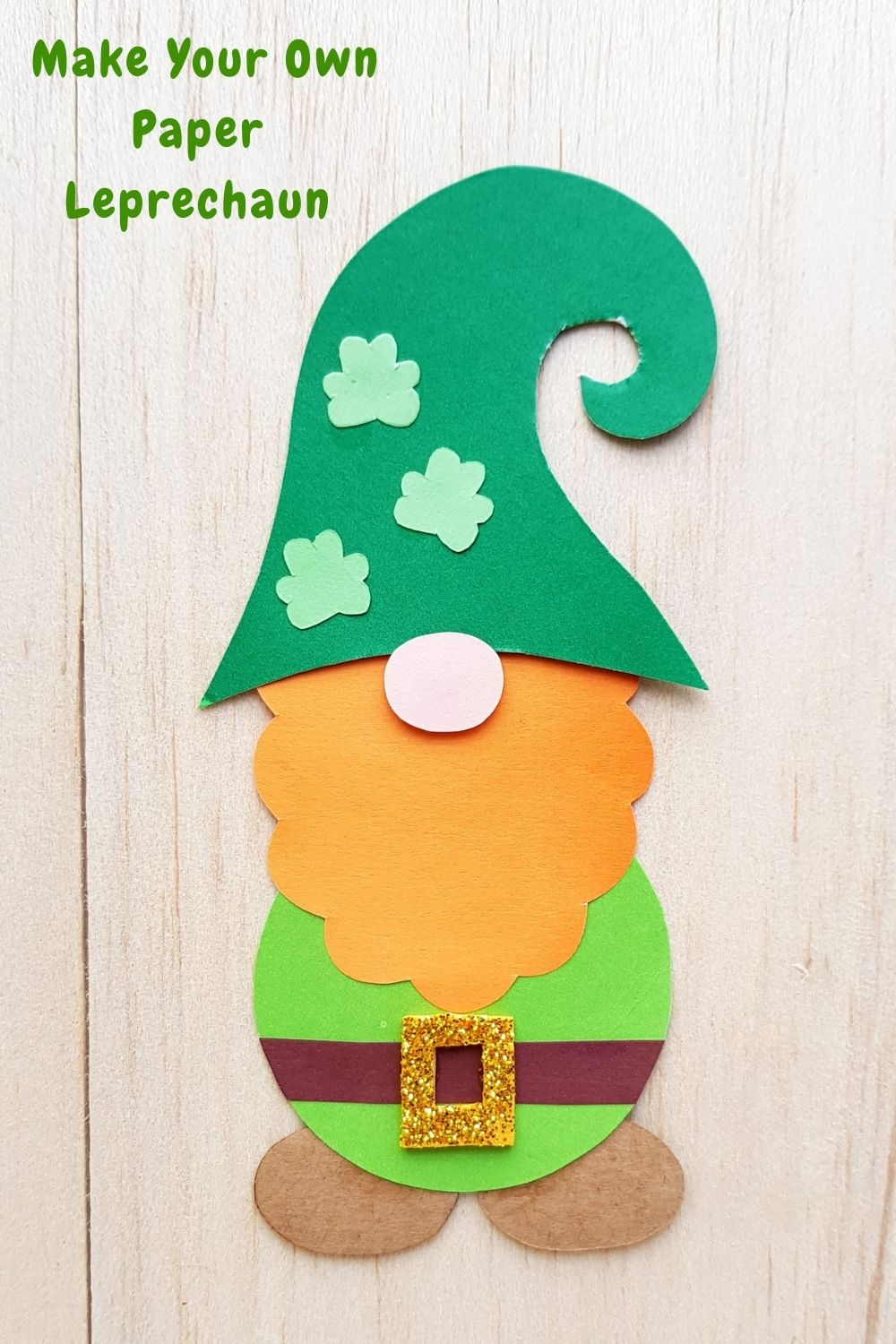 Paper leprechaun with shamrock hat with text overlay