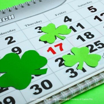 Wall calendar with March 17 in red and surrounded in shamrocks