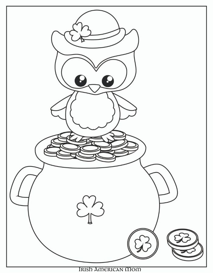 Sketch of an owl chick on a pot of gold