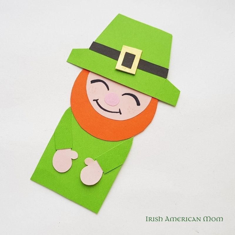 A paper leprechaun bookmark with hat