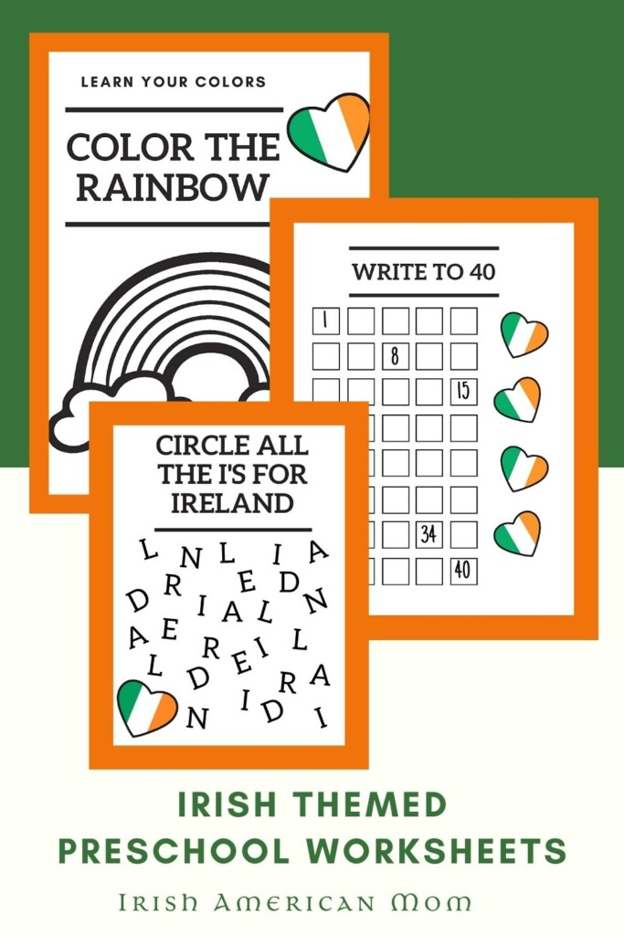 Irish themed school worksheets in highlight box in a graphic with text