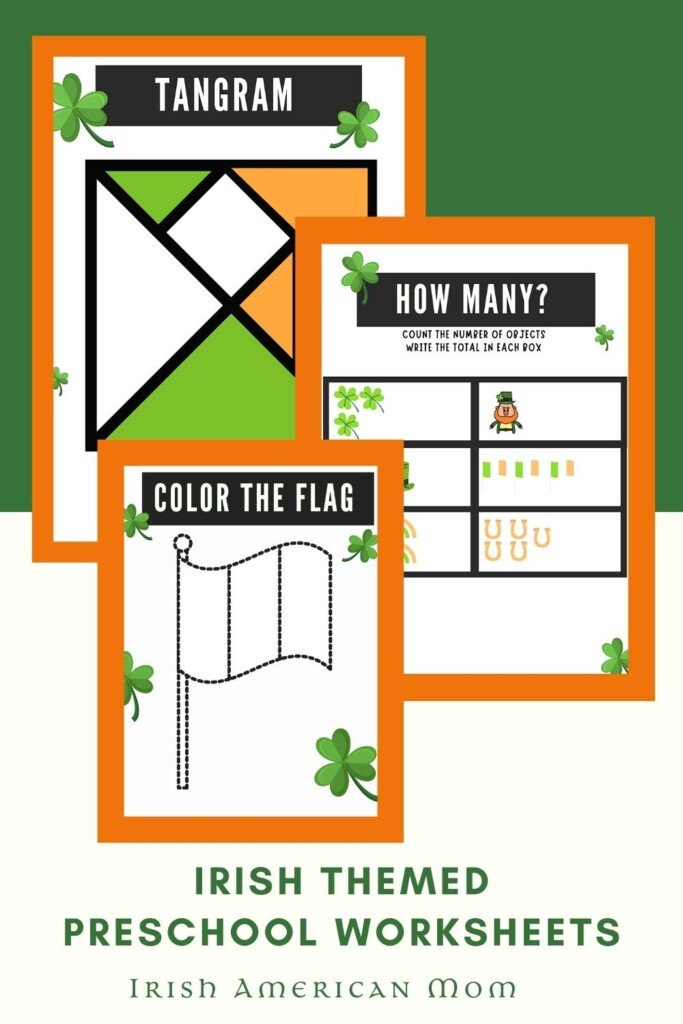 Graphic with Irish math and coloring activity sheets plus text