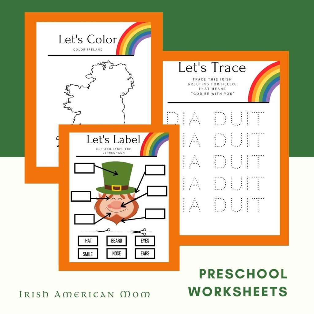Rainbow work sheets for Saint Patrick's Day on a graphic with text