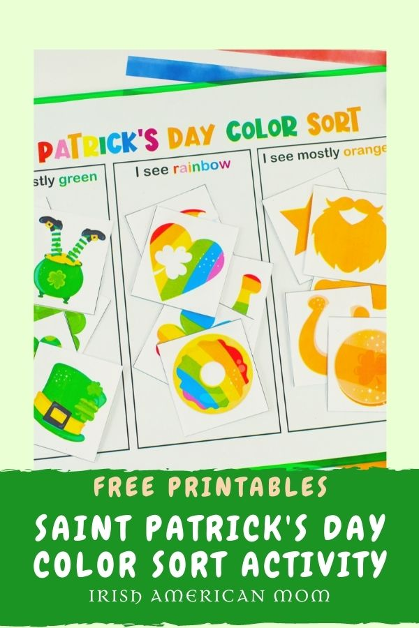 Color sorting activity with Irish shapes and colors