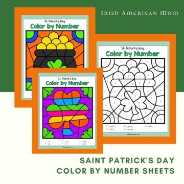 Three color by number worksheets on a graphic with text