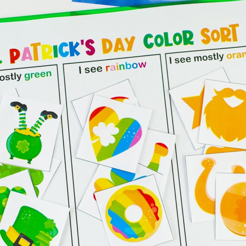 Colorful shapes and pictures related to Ireland on a sorting chart
