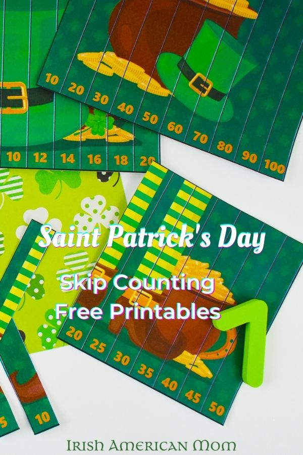 Green leprechaun inspired school worksheets with numbers and text