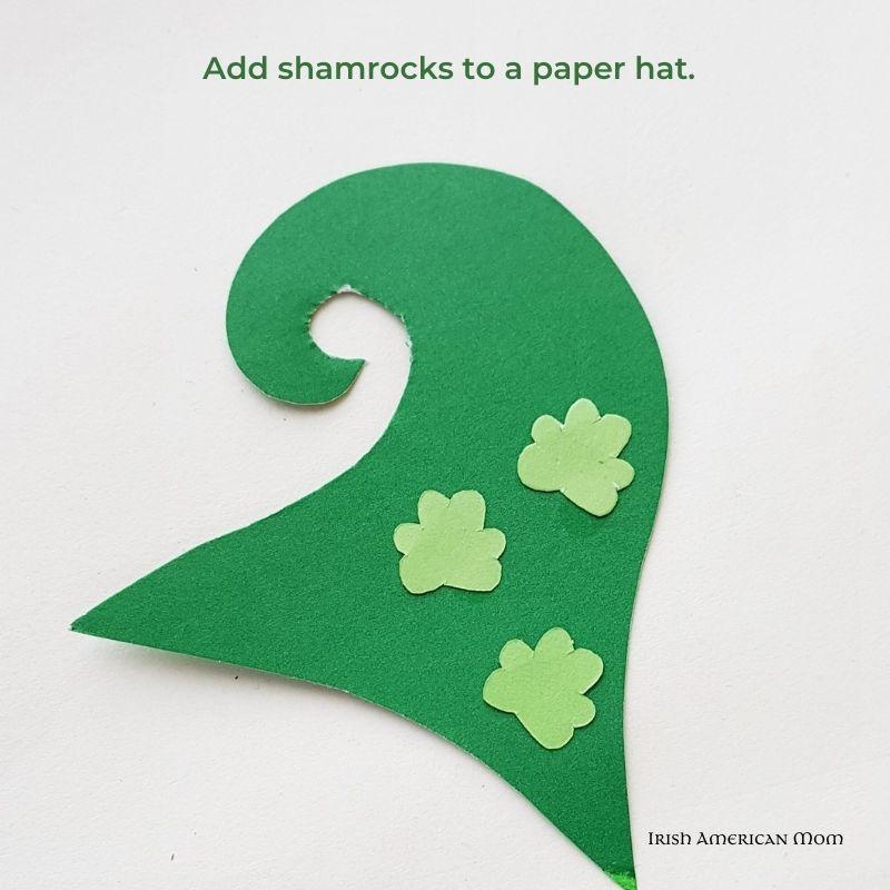 Paper leprechaun hat with shamrock motifs