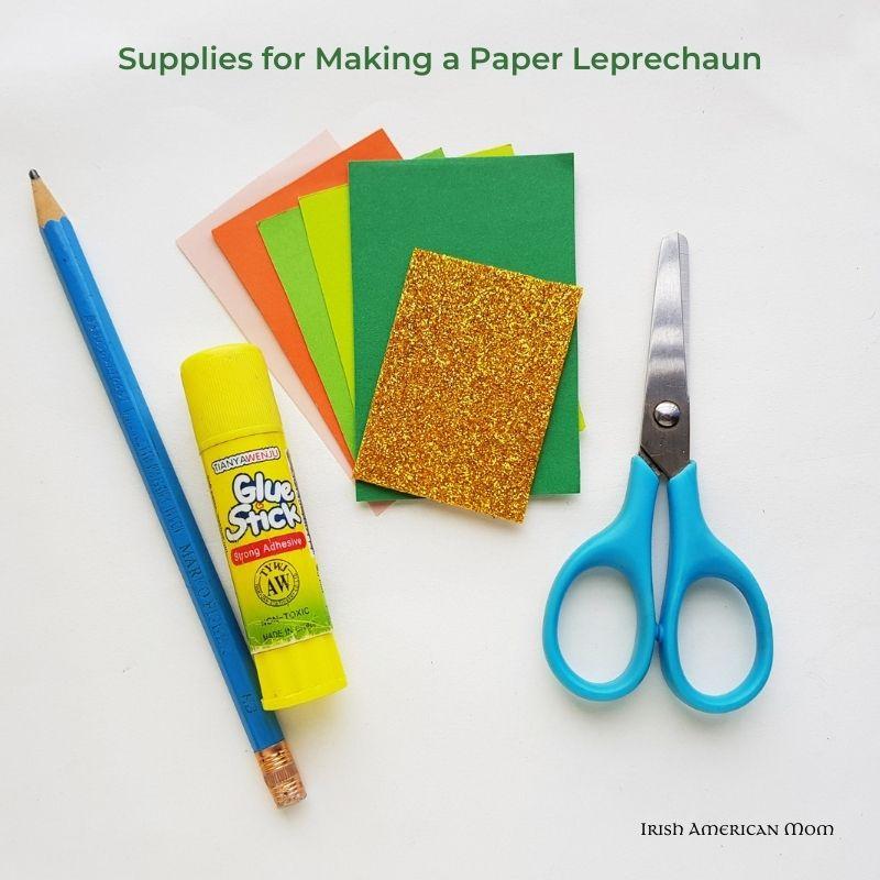 Supplies for making a paper leprechaun