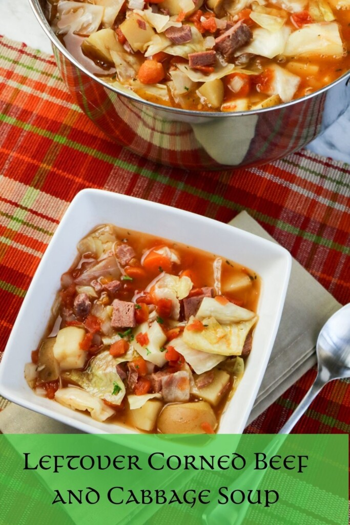 Soup in a pot and bowl with a text banner