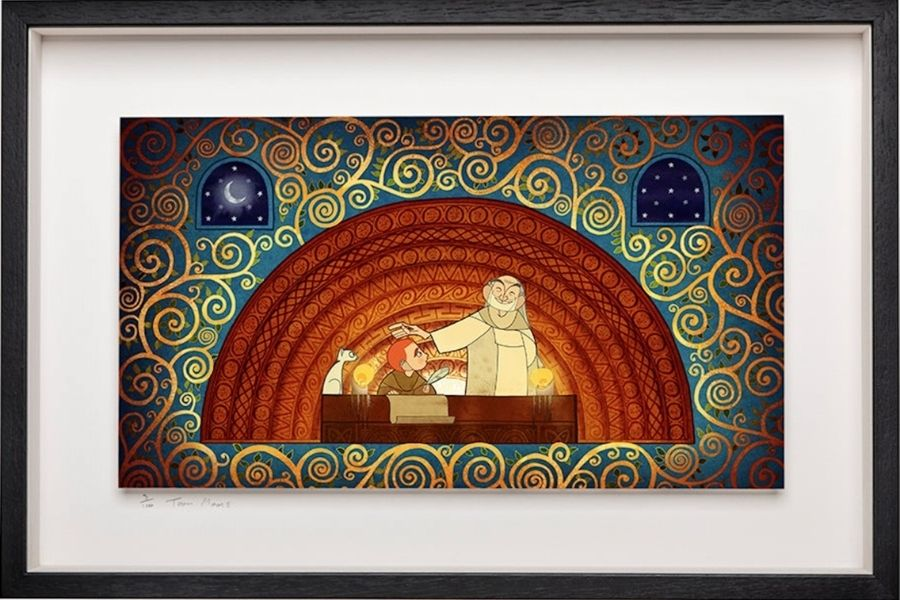Framed art print featuring a boy and teacher with Celtic designs