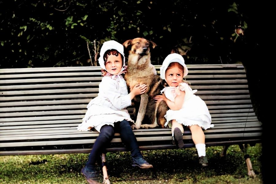 Two girls with a dog sitting on a bench