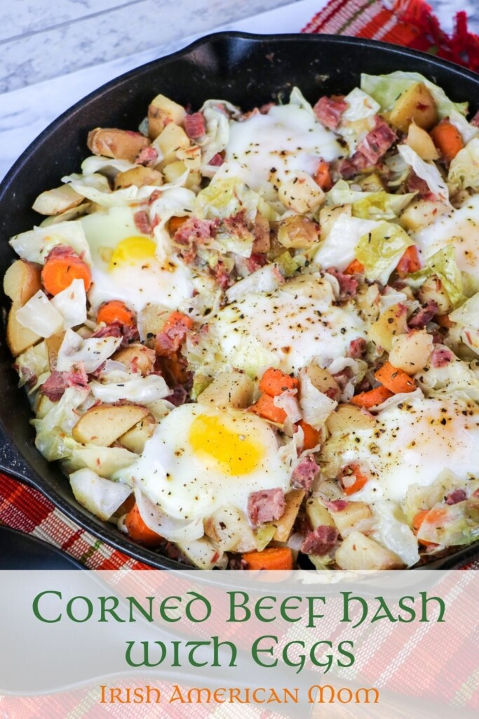 Skillet with leftover corned beef hash and eggs with a text banner