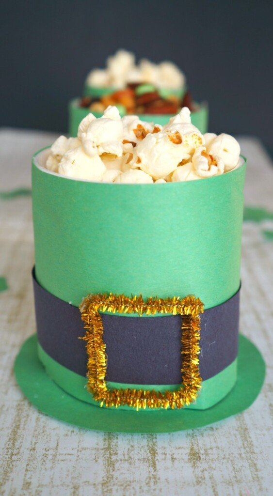 Leprechaun hat container with popcorn