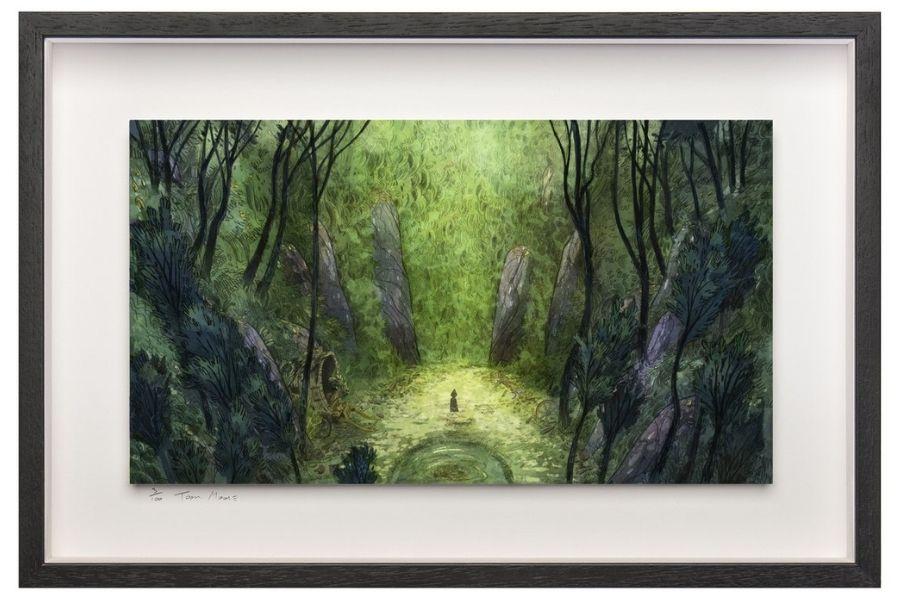 Cartoon Saloon Art Work framed print of a girl in a green forest