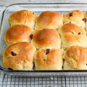 Golden topped baked yeast buns in a casserole