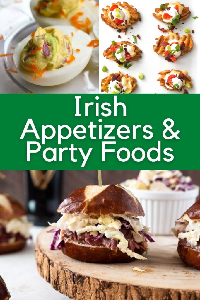 Deviled eggs, waffle appetizers and slider sandwiches on a graphic with a central text banner