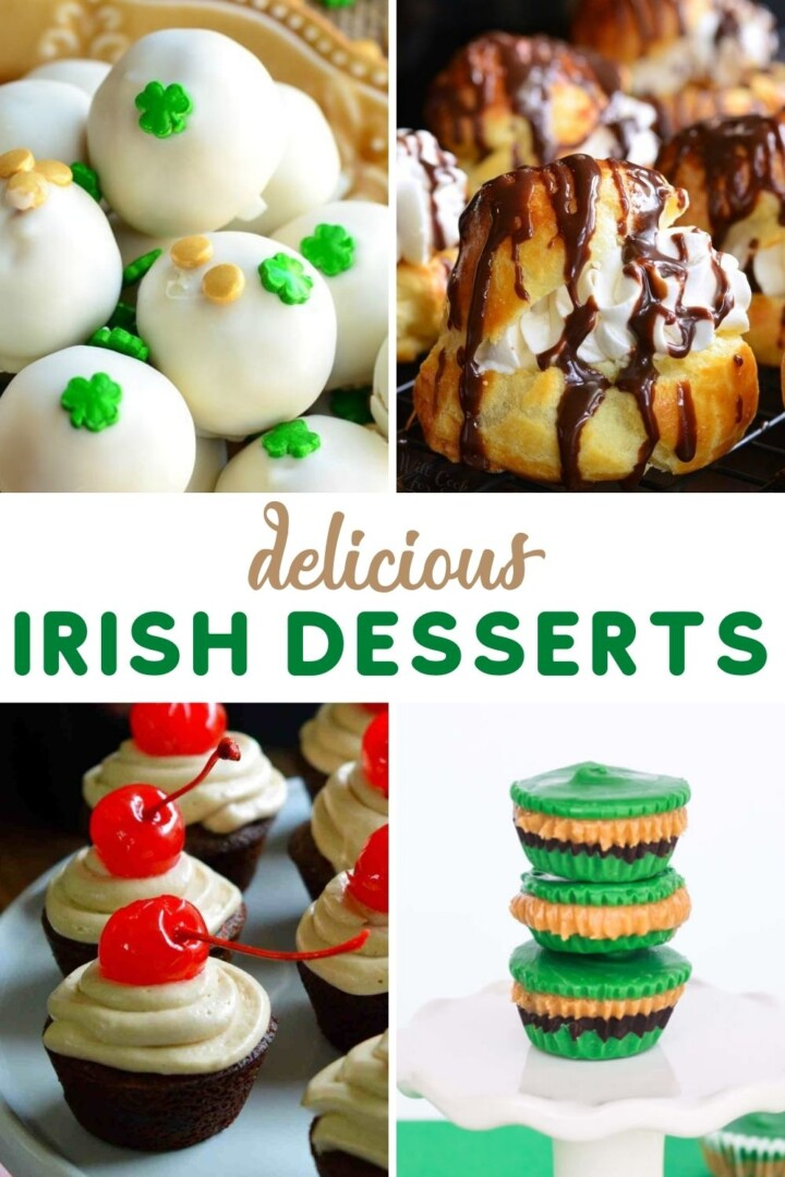 Four image collage featuring Irish desserts with a text banner