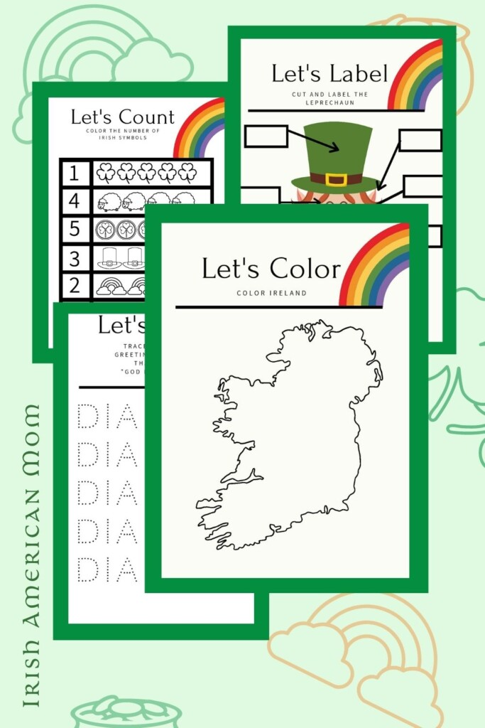 Graphic featuring Irish themed preschool worksheets with text