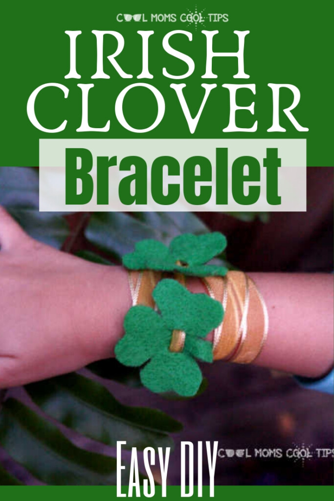 Felt shamrock bracelet with a text banner