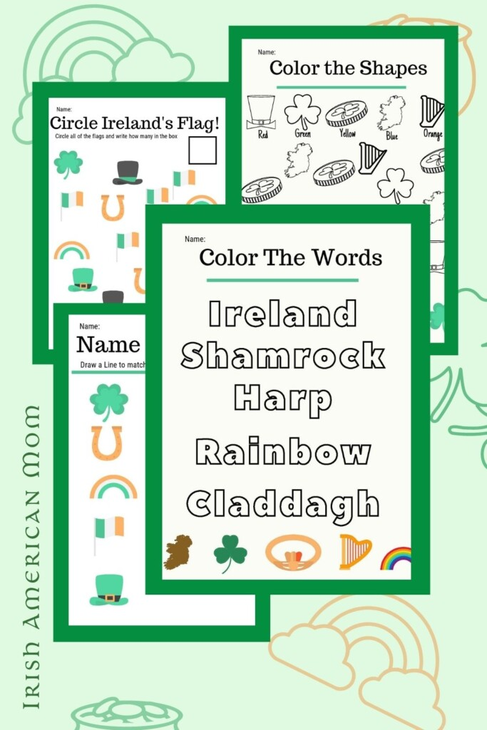 Graphic featuring school work sheets with Irish words and symbols