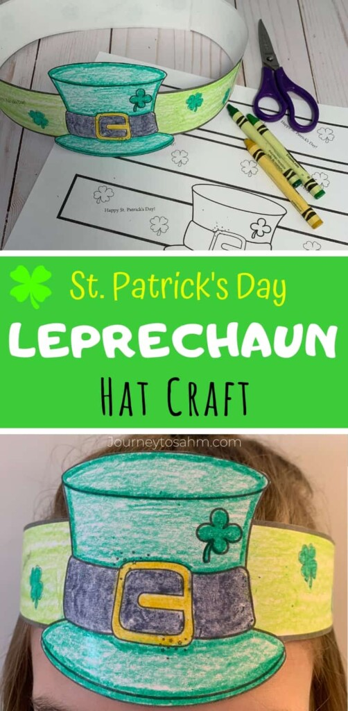 Paper Leprechaun hat on a head band with a central text banner