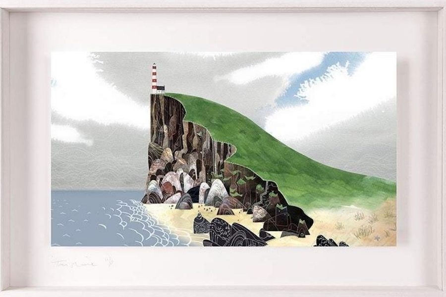 A lighthouse on a cliff featured in a framed art print