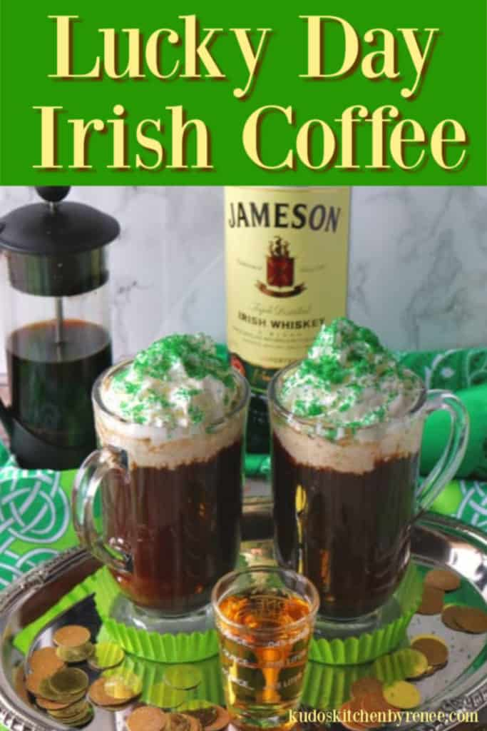 Irish Coffees with whipped cream and a text banner