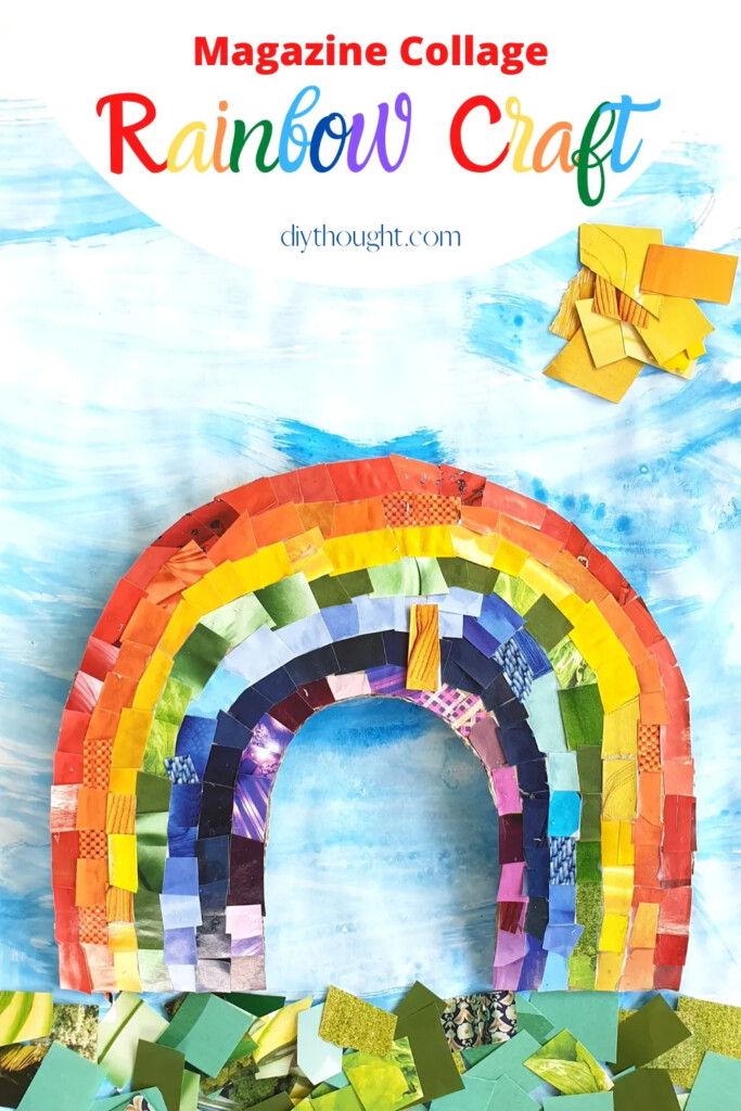 Rainbow made with magazine pieces with a text banner