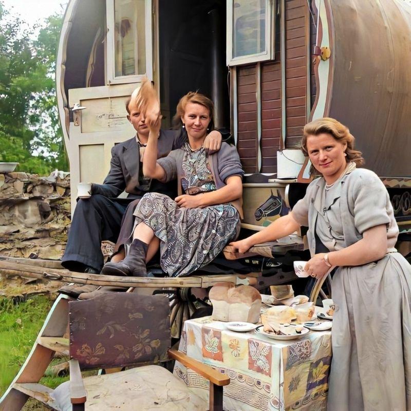 Serving tea and bread beside a caravan